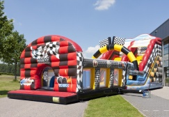 Big inflatable race car bounce house with slide