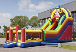 Clown Multiplay inflatable Club Slide with Bounce House