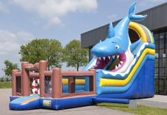 wholesale Multiplay shark inflatable wet dry combo suppliers