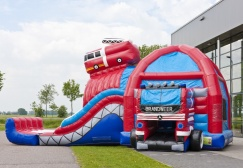 wholesale Large Firetruck Inflatable Combo Bouncer suppliers