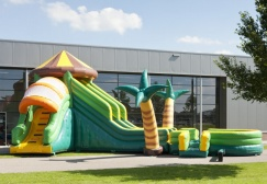 wholesale 15m Inflatable jungle bouncer with slide suppliers